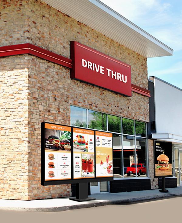 digital signage drive thru